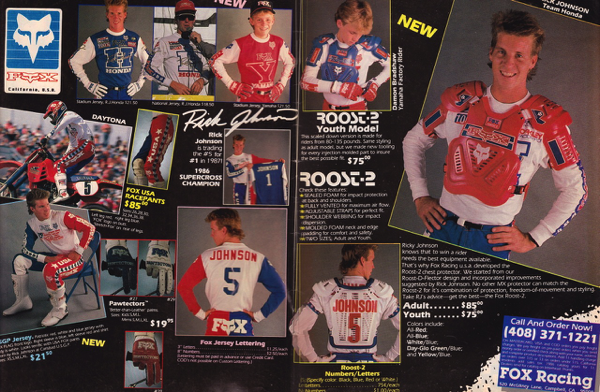 2acf3767b91 Blaze- I absolutely loved RJ s new replica gear for 1986. I had the blue  Stadium jersey at the upper left and felt like the Supercross champ wearing  it.